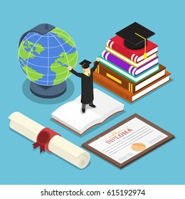 Flat 3d isometric smart people in graduation suit with graduate cap on top of book and graduate diploma certificate, education concept