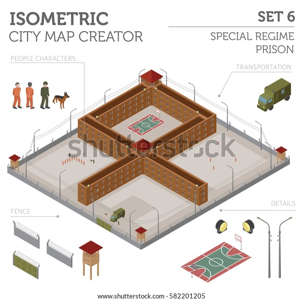 Flat 3d Isometric Special Regime Prison Stock Vector (Royalty Free