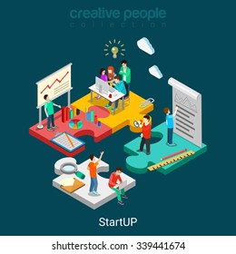 Flat 3d isometric StartUP concept web infographics vector illustration. Puzzle solution idea research report team business planning. Creative people collection.