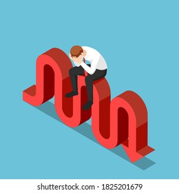 Flat 3d isometric stressed businessman sitting on stock market fluctuation arrow. Financial crisis and investment risk concept.