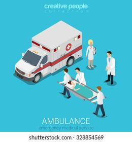 Flat 3d isometric style ambulance emergency medical evacuation accident concept web infographics vector illustration. Orderlies carry patient stretcher. Creative people website conceptual collection.