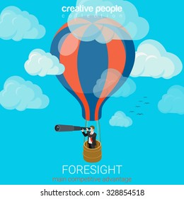 Flat 3d isometric style business foresight future flight concept web infographics vector illustration. Businessman on balloon in sky look spyglass. Creative people website conceptual collection.