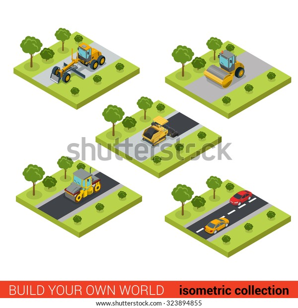 Flat 3d Isometric Style Modern Road Stock Vector (Royalty