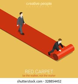 Flat 3d isometric style red carpet concept web infographics vector illustration. Man walks on lane and waiter rolls out. Creative people website conceptual collection.