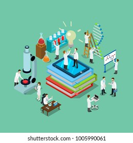 Flat 3d isometric style science chemical pharmaceutical research lab web infographics vector illustration. Big books tablet flask tube and scientists. Creative people website conceptual collection.