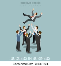 Flat 3d isometric style success in business concept web infographics vector illustration. Man throw up hands. Creative people website conceptual collection.