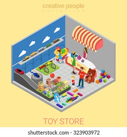 Flat 3d isometric toy store web infographics concept. Kid child parents in shop interior choosing gift cashier desk seller. Creative people collection.
