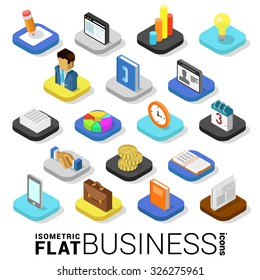 Flat 3d isometric trendy style business finance money web mobile app infographics icon set. Website application collection.