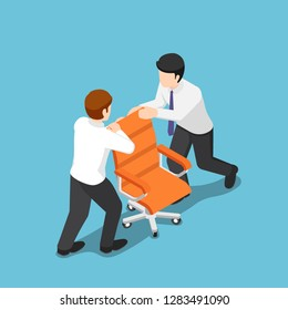 Flat 3d isometric two business people fighting over for ceo chair. Business competition concept.