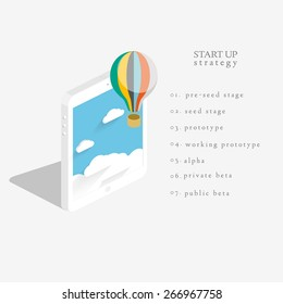 Flat 3d isometric vector design of the startup process, cloud storage, responsive web design and SEO with hot air balloon