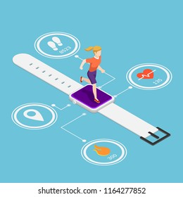Flat 3d isometric woman running on smartwatch with heart rate monitors, counting calories, count steps and GPS technolog function. Wearable device technology and fitness tracker concept.