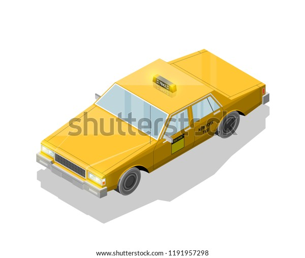 Flat 3d Isometric Yellow Taxi Cab Stock Vector (Royalty Free) 1191957298