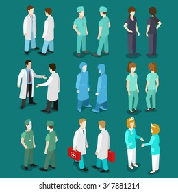 Flat 3d isometry isometric doctor nurse surgeon orderly icon set concept web infographics vector illustration. Healthcare medicine professional conceptual. Creative people collection.