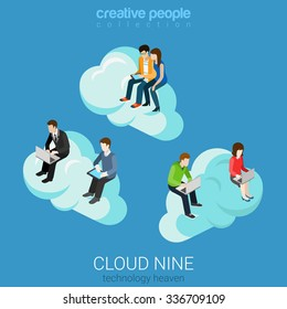 Flat 3d isometry isometric internet technology heaven cloud nine concept web infographics vector illustration. Businessman casual couple on clouds surfing laptop tablet. Creative people collection.