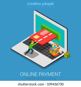 Flat 3d isometry isometric mobile online payment concept web infographics vector illustration. Micro casual man pushing card into laptop screen. Creative people collection.