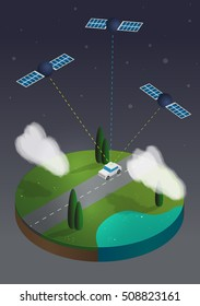Flat 3d vector isometric illustration concept with map, white car and GPS satellite