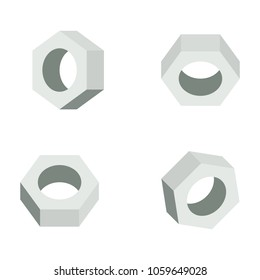 Flat 3D washer nut , vector