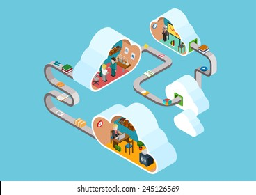 Flat 3d web isometric cloud office rooms collaboration interior infographic concept vector. Clouds connected documents, objects. Staff workplace, laboratory, meeting room. Creative people collection.