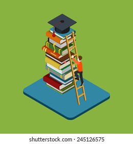 Flat 3d web isometric education graduation infographic concept vector. Man figure climbs on ladder over heap of books to reach graduate cap. Gain knowledge result, university / college classes.