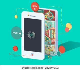 Flat 3d web isometric infographic social media promotion online marketing modern technology communication concept. Huge smartphone micro people work created Spread the word Creative collection