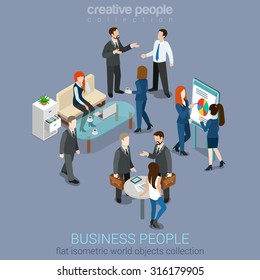 Flat 3d web isometric office room interior businessmen collaboration teamwork brainstorming waiting meeting negotiation infographic concept vector set. Creative people collection