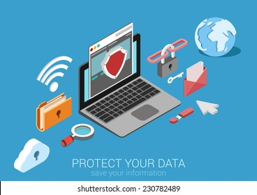 Flat 3d web isometric online safety, data protection, secure connection, cryptography, antivirus, firewall, cloud file exchange, internet security infographic concept vector. Laptop encrypt interface.