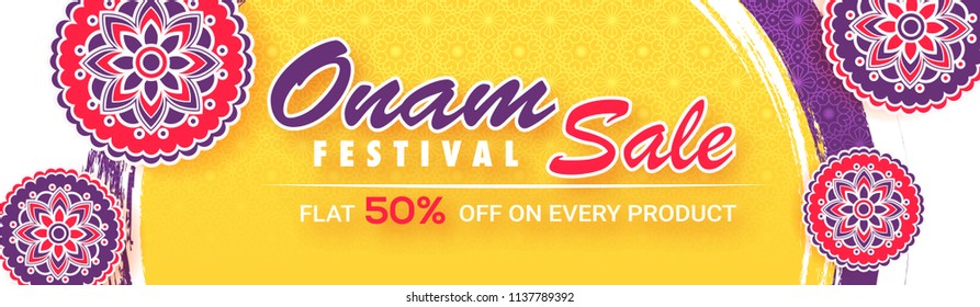 Flat 50% discount offer for Onam Festival Sale banner or header with floral designs in sticker style on abstract background.