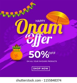 Flat 50% offer with Golden Umbrella and Floral Garland (Toran) decorated on abstract purple background for Onam festival celebration.