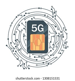 Flat 5G Sim Card echnology background. Mobile telecommunications technology with microelectronics background.