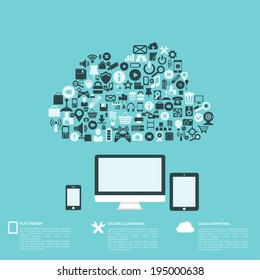 Flat abstract background with web icons. Interface symbols. Cloud computing. Mobile devices.