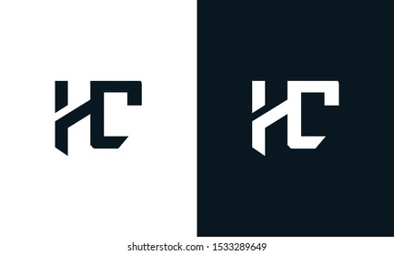 Flat abstract letter HC logo. This logo icon incorporate with two abstract shape in the creative process.