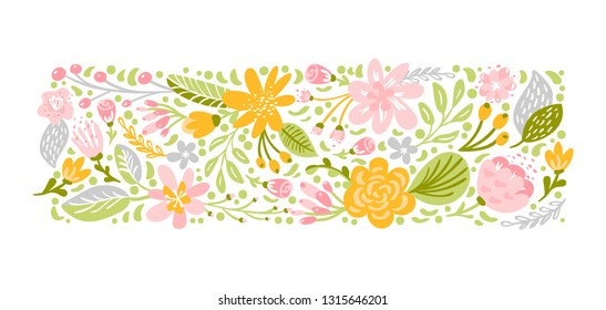 Flat abstract pastel flower herb bouquet. Vector garden spring easter flora, woman day romantic holiday, wedding invitation card decoration element summer floral Illustration white background