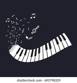Flat Abstract Piano Keyboard with Notes on Black Background. Music Instrument Vector.