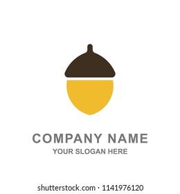 Flat Acorn Oak Nut Logo Vector Illustration