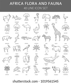 Flat African flora and fauna  elements. Animals, birds and sea life simple line icon set. Vector illustration