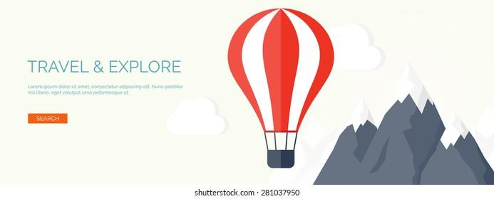 Flat air balloon. Travel and explore.