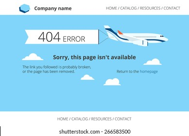 Flat airplane with 404 error notification on white banner