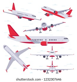 Flat airplane. Aircraft flight travel, aviation wings and landing airplanes, plane front flights in air. Flying planes cargo service isolated vector illustration icons set