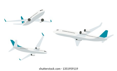 Flat airplane icon collection set  isolated on white background. Vector Illustration. EPS10