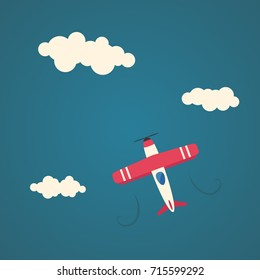 Flat airplane illustration, flying aircraft in the sky.