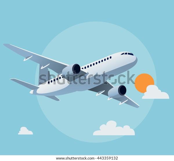 Плоский самолет иллюстрация, вид летающего самолета