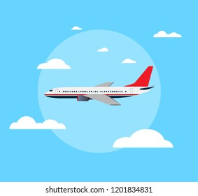flat airplane on sky background