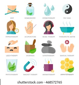 Flat alternative medicine icons set, vector illustration. Including homeopathy, diet, hydrotherapy, hypnotherapy,  acupuncture, therapeutic baths, leech , ayurveda