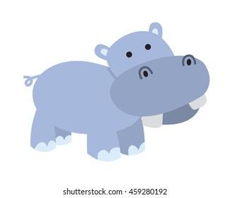 Flat Animal Character Logo - Hippopotamus