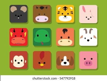 Flat Animal Faces Application Cartoon Chinese Zodiac