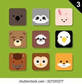 Flat Animal Faces Application Icon Cartoon Vector Set 3 (US)