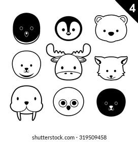 Flat Animal Faces Monochrome Icon Cartoon Vector Set 4 (Arctic)