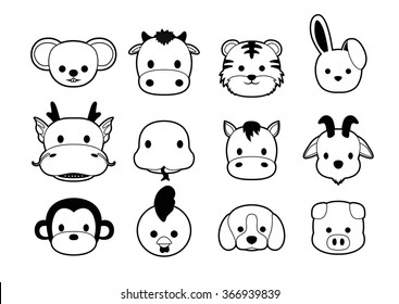 Flat Animal Faces Monochrome Icon Cartoon (Chinese Zodiac)