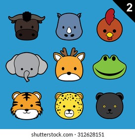 Flat Animal Faces Stroke Icon Cartoon Vector Set 2 (Forest)