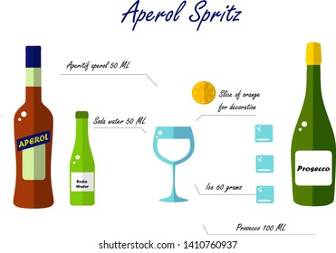 Flat Aperol Spritz. Bottles, glass, orange, ice on a white background